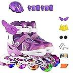 ZCRFY Rollers en Ligne Patins à roulettes Enfants Garçons Et Filles Adultes Enfants Taille Réglable Patins à roulettes 3-10 Ans Débutants Toddlers Rollerblades Respirant Rollers Quad,Purple-S(31-34)