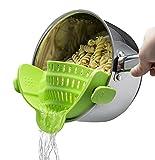 Hivexagon Clip de Silicona Colador de Cocina Flexible Colador de Alimentos para Escurrir Espaguetis, Pasta, Fideos, Carne Picada Se Adapta a la Mayoría de Las Ollas, Sartenes y Tazones (Verde) HG330