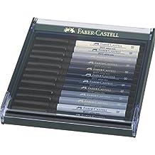 Faber-Castell 267423 - Pack de 12 rotuladores Pitt punta de pincel, tonos grises