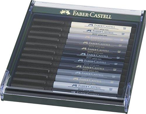 Faber-Castell Confezione Con 12 Pitt Artist Pen Brush, Colori Grigi - Faber Castell Pitt Artist Brush