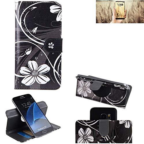 K-S-Trade Schutzhülle für Allview X4 Soul Infinity N Hülle 360° Wallet Case Schutz Hülle ''Flowers'' Smartphone Flip Cover Flipstyle Tasche Handyhülle schwarz-weiß 1x
