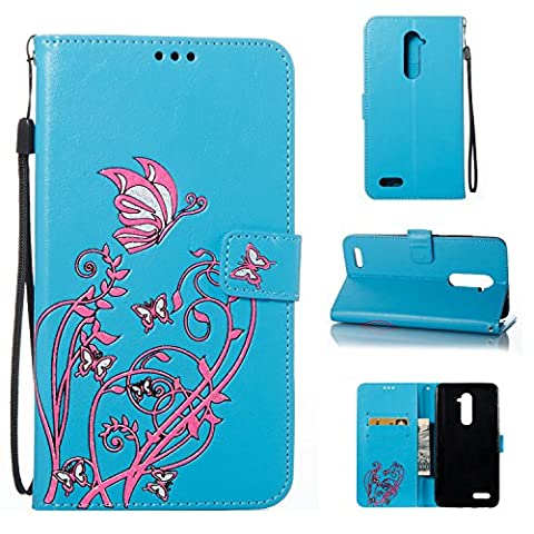 Meet de ZTE Zmax Pro Z981, Luxury Slim PU Leather Flip Protective Magnetic Wallet Cover Case?With Stand Function and Credit Card Slot - blue