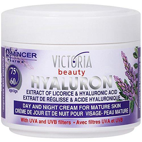 Victoria Beauty – Anti-Falten Augencreme mit Süßholzextrakt und Hyaluronsäure – Gesichtspflege gegen Falten (1 x 50 ml) – Tages- und Nachtcreme gegen Schwellungen – ab 60 Jahre