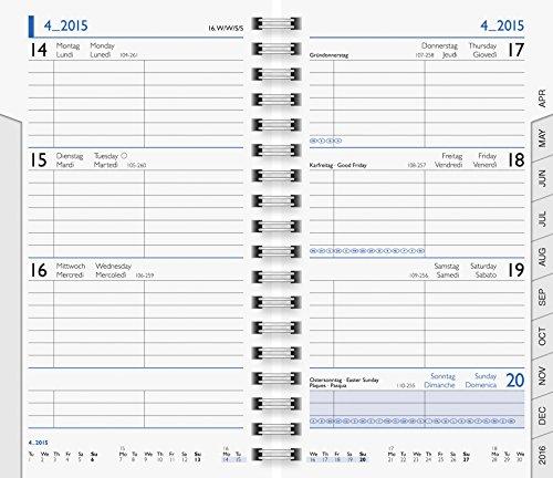 Brunnen 1075601 Taschenkalender/Wochen-Sichtkalender Ersatzkalendarium Modell 756, 2 Seiten = 1 Woche, 87 x 153 mm, Karton-Umschlag, Kalendarium 2018, Wire-O-Bindung