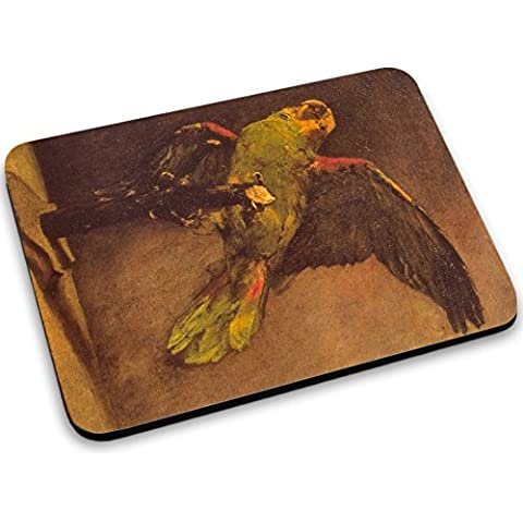 Van Gogh - Parrot, Mouse Pad Tappetino per Mouse Mouse Mat con Immagine Colorato Antiscivolo in Gomma di Base compatibile con Apple Magic Mouse. Ideale per Giocare 250 x 190mm.