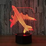 3D Night Lamp Baby Sleep, Aircraft Warplane Model Creative Touch Jet Avion Desk Cool Toy 50% Discount Lamp Kids Illusion Night Children Birthday Gift Baby Decor Room Home Gifts Decoration Acrylic Led...
