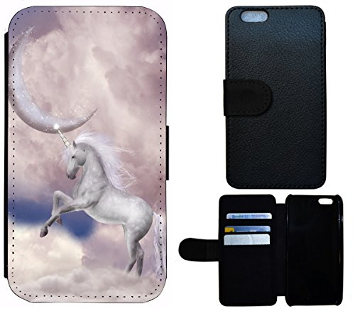 Flip Cover Schutz Hülle Handy Tasche Etui Case für (Apple iPhone 5 / 5s, 1560 Gitarre Abstract Schwarz Rot Gelb) 1561 Einhorn Pferd Mond Abstract