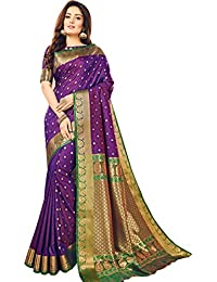 Craftsvilla Women's Silk Blend Purple Saree With Butta Work And Contrast Traditional Pallu And Unstitched Blouse...