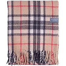 The Tartan Blanket Co. Couverture recyclée en laine – style tartan écossais Thomson Camel