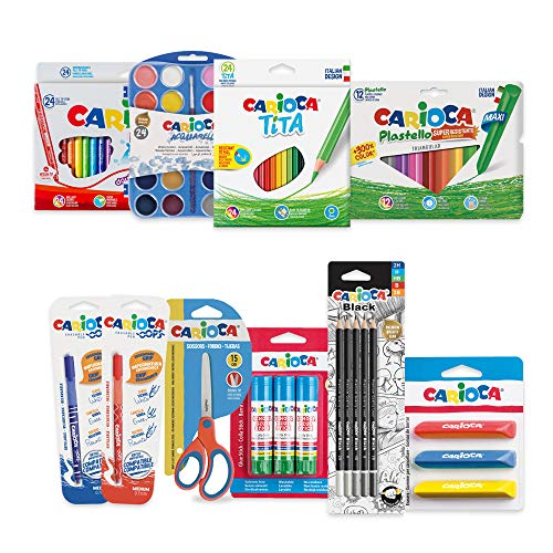 CARIOCA SET BACK TO SCHOOL | 53220 - Kit Cancelleria per la Scuola per Colorare, Disegnare e Ritagliare, 100 Pezzi