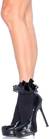 Leg Avenue donna calzini alla caviglia neri con fiocchi neri taglia unica