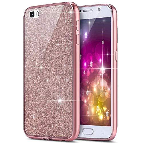JAWSEU Compatibile con Huawei P9 Lite Custodia Silicone TPU Placcatura Brillantini Bling Glitter Cristallo Protettiva Cover Ultra Sottile Trasparente Morbido Gel Bumper Case,Oro Rosa