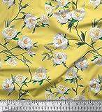 Soimoi Gelb schwere Satin Stoff Blätter & Magnolie Blumen-