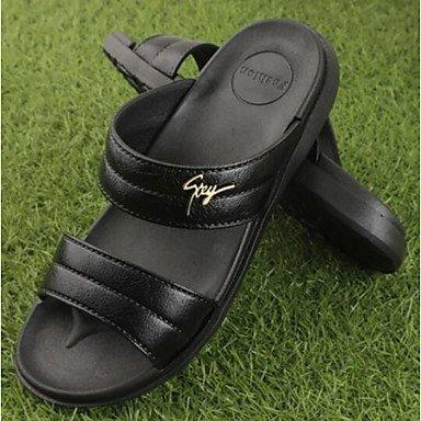 Slippers & amp da uomo;Estate slingback gomma casuale piani del tallone sandali marrone nero sandali US11.5 / EU45 / UK10.5 / CN47