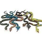 14 Pollici Serpente Giocattoli Set (6 Pezzi), Super Elastico, con Carta di Apprendimento, Mondo Zoo Mantengono Uccelli Lontani Vasca da Bagno Giardino Foresta Pluviale Squishy Rettile Giocattolo