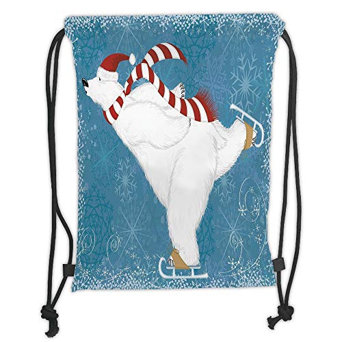 nted Drawstring Sack Backpacks Bags,Bear,Polar Bear with Christmas Hat and Scarf Ice Skating Ornate Snowflakes and Swirls Decorative,Blue Red White Soft Satinr ()