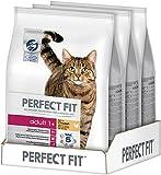 Perfect Fit Katzen-/Trockenfutter Adult 1+ für erwachsene Katzen Adult Reich an Huhn, 3 Beutel (3 x 2,8 kg)