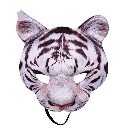 Tiger Realistische Kostüm - Karneval Party Mann und Frau halbes Gesicht realistische Tier Cosplay Kostüm Tiger Maske, weißer Tiger