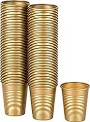 Idea Regalo - Kigima bicchieri monouso in plastica di colore oro 100 Pezzi, Capacità 0,18 Litri