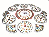 Handcrafted Decorative Diwali Rangoli set – Multicolor Jewel Stone/ Kundan Decorations on OHP Base – 11 piece set - for Home Décor