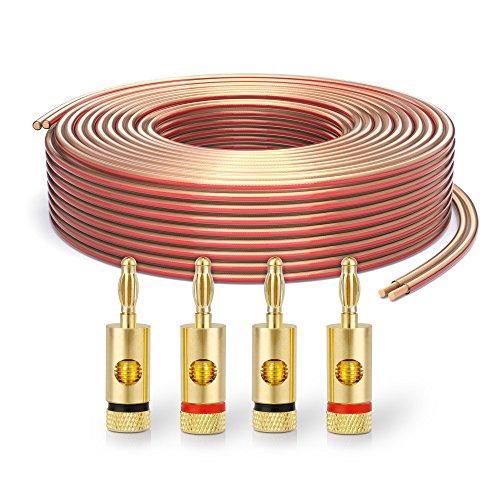 PureLink SP060-015 Lautsprecherkabel 2 x 2,5mm² (99,9% OFC Vollkupfer 0,20mm Litze) Hifi Boxenkabel, 15m, transparent, Set inkl. 4 Bananenstecker Steren Verstärker