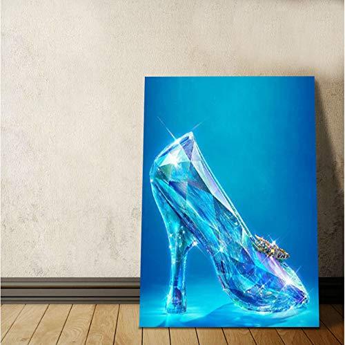 Kleine Glas-slipper (Dirart Rahmenlos Digitale Malerei Mädchen Traum Kristall Schuhe Digital Paint By Numbers Der Kleine Glas Slipper Diy Digital Painting 40X60Cm)