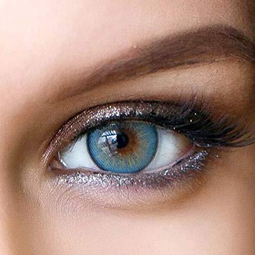Sehr stark deckende und natürliche Blaue Kontaktlinsen SILIKON COMFORT NEUHEIT farbig 'Elly Blue' + Behälter von GLAMLENS - 1 Paar (2 Stück) - DIA 14 mm - ohne Stärke 0.00