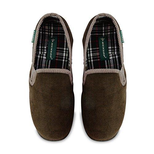 Gefüttert Kariert Velour Olive Herren Cord Pantoffeln Dunlop 5PxTTwF