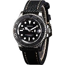 PARNIS 2161Hombre Reloj Automático con ambos lados giratorio cerámica Bisel Miyota de reloj de cristal de zafiro Caja de acero inoxidable reloj de pulsera con indicador de fecha y lupa