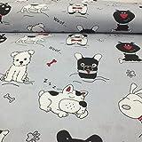 Pure Textilien Erstklassiger Baumwollstoff 0,5lfm, 100% Baumwolle, modische Muster, Breite 160cm – Hunde
