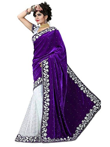 Nine Street Store Women Velvet & Net Saree With Blouse Piece (Valvets_Violet_Free Size)  available at amazon for Rs.399