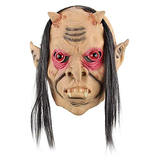JIAENY Halloween-Maske,Halloween Maske Dämonen Masken Furchterregende Accessoires Requisiten Party Cosplay Horror Ungiftig Langes Haar Kostüm Böser (Furchterregende Kostüm)