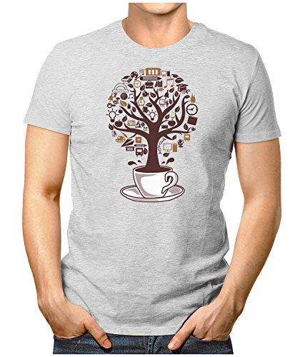 PRILANO Herren Fun T-Shirt - COFFEE-TREE - Small bis 5XL - NEU Grau Meliert