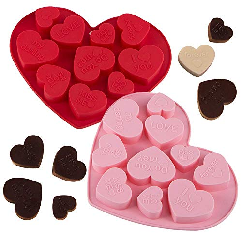 webake Silikon Schokoladenform Herz 2er Set Backen Schokolade Formen BPA Frei Silikonbackform 20 Köstlichkeiten Hitzebeständig für Kuchen, Schokolade, EIS, Törtchen, Muffins