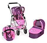 Bayer Chic 2000 637 40 - Puppenwagen 3 in 1 Emotion All in, Dots Purple-Pink