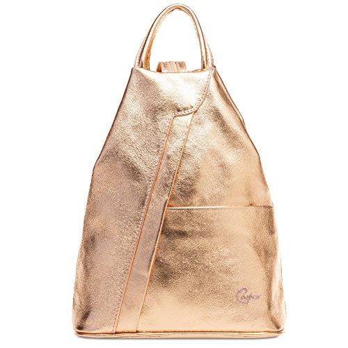 CASPAR TL782 2 in 1 echt Leder Rucksack Handtasche Schultertasche Daypack, Farbe:roségold;Größe:One Size