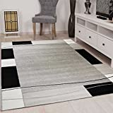 Tapis à carreaux Modèle Rétro moucheté en gris, Blanc et noir Chambre Salon - ÖKO TEX certifié - gris, gris, 160x230 cm