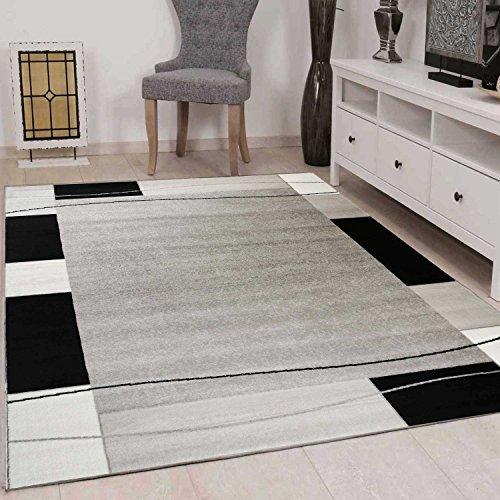 ... VIMODA Teppich Kariert Retro Muster Meliert In Grau, Weiß Und Schwarz  Schlafzimmer Wohnzimmer   ÖKO ...