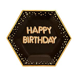 Neviti- Glitz and Glamour Black & Gold-Large Plate-Happy Birthday Papel, Color black/gold, 27 x 0.5 x 27 (774397)