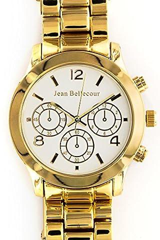 Jean Bellecour - REDS10-GW - Montre Mixte - Quartz Analogique - Cadran Blanc - Bracelet Acier plaqué Doré