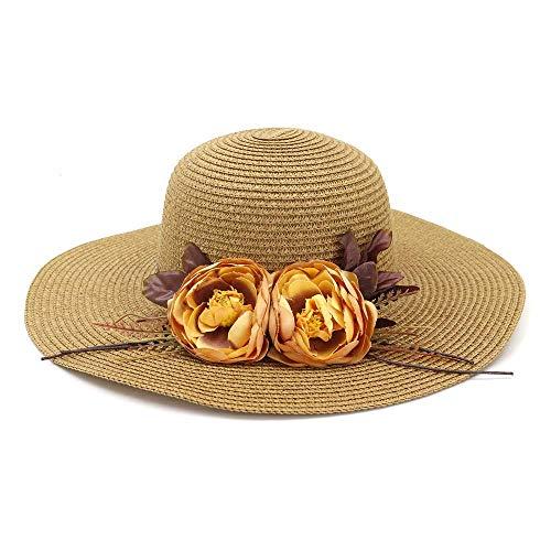 Dilunsizrf Sonnenhut Weiblicher Strohhut Womens Wild Hat Outdoor Strandhut Flower Sun Hat,Khaki
