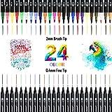 Dual Brush Pen,24 Colori Pennarelli Acquarelli con punta fine e punta brush per disegnare, disegnare, progettare prodotti, calligrafia, manga, belle arti (nero)