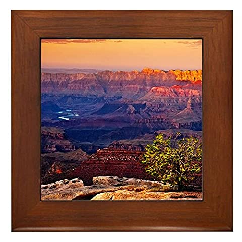CafePress - Grand Canyon Sunset - Framed Tile, Decorative Tile Wall Hanging