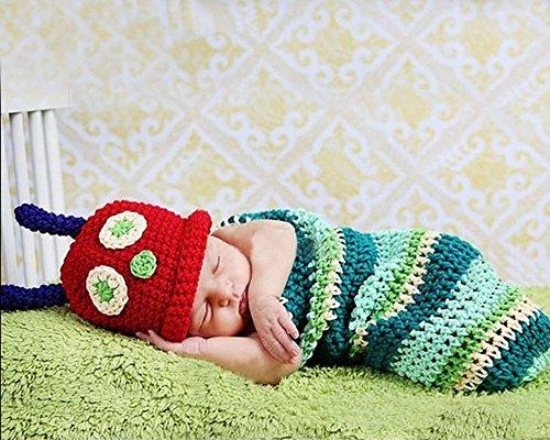 Jisen® Raupen-Kostüm/Schlafsack für Babys und Kinder, Strampler, für Neugeborene, für Baby-Fotografie, als Requisit, Nachtwäsche, Wickelsack, 0–24Monate
