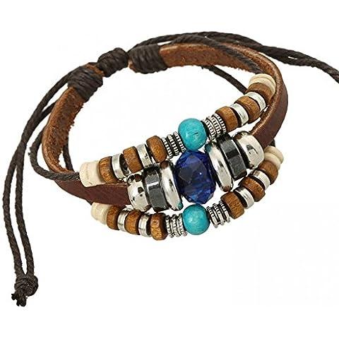 Bling moda in pelle punk rock bracciale in pelle con cristallo blu zaffiro blu perline di legno braccialetti lb1431