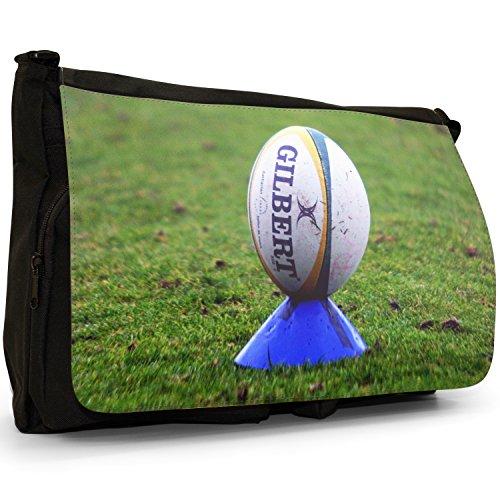 Rugbyball auf Kicking Tee Große Messenger- / Laptop- / Schultasche Schultertasche aus schwarzem Canvas