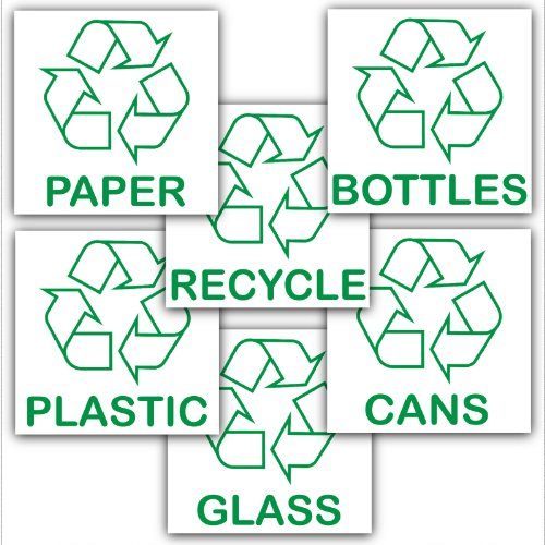 Recycling Adhesive Stickers Value Pack-Recycle Logo Signs-Paper,Glass,Bottles,Cans,Plastic,Recycle Designs Environment Labels by Platinum Place (Glas-recycling)