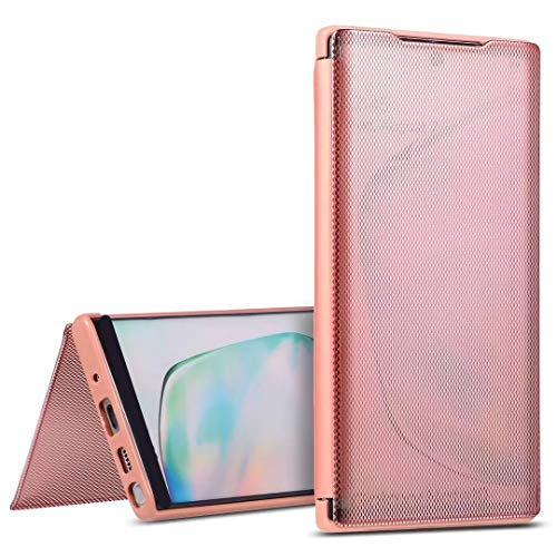 """Nadoli Clear View Case for iPhone 11 Pro Max 6.5"""",Luxury Grid Mirror Front Full Coverage Flexible Soft Silicone Tpu Back Flip Protective Case Cover-Rosa"""