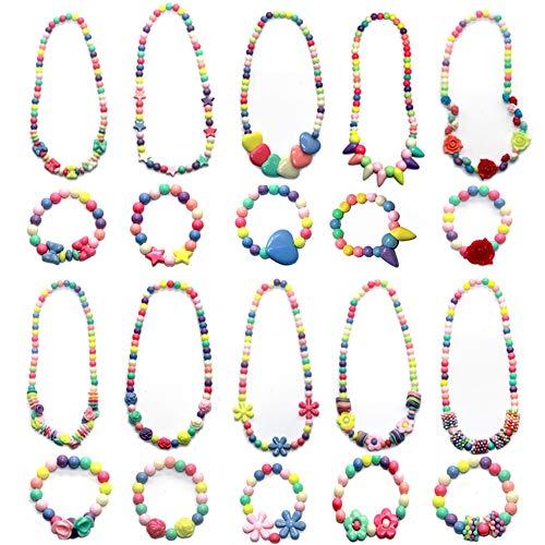 chen Prinzessin Halskette Armbänder Set, DIY Schmuck Perlen Kit für Mädchen Mitbringsel Geschenk, 20 STÜCKE (Candy Farbe) ()