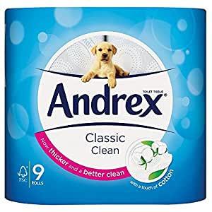 Kimberley Clark VKC4970125 - Andrex Toilet Tissue White (5 Packs of 9 Rolls = 45 Rolls)